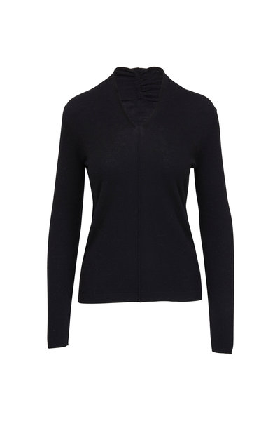 Kinross - Black Worsted Cashmere Gathered V-Neck Sweater