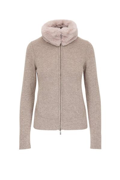 Kinross - Suede Cashmere Faux Fur Collar Front Zip Cardigan