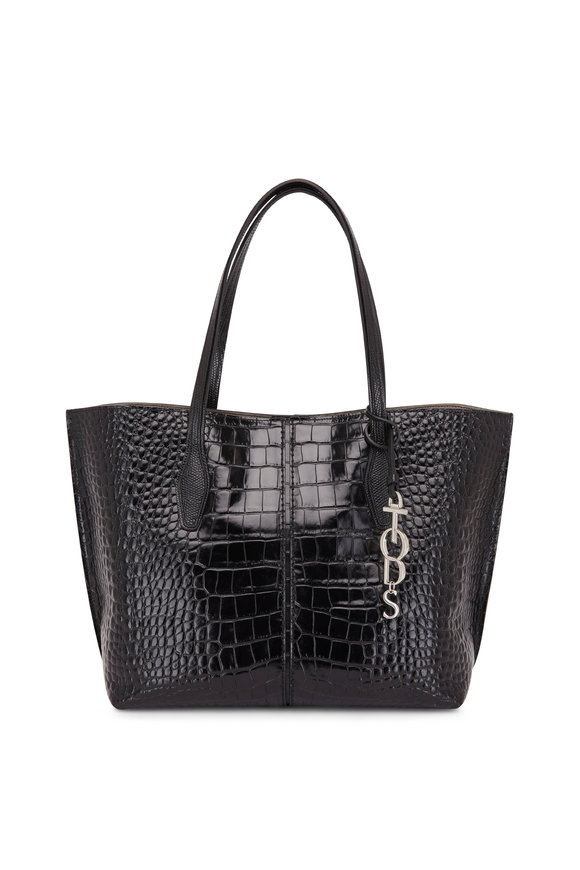 Tod's Bauletto Black Glossy Embossed Leather Small Tote