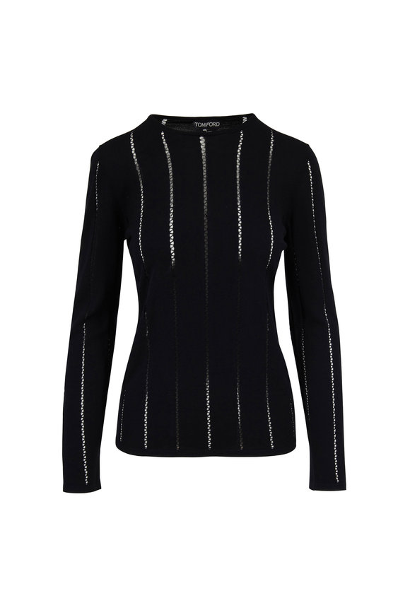 Tom Ford Black Wool Sheer Seam Crewneck Top