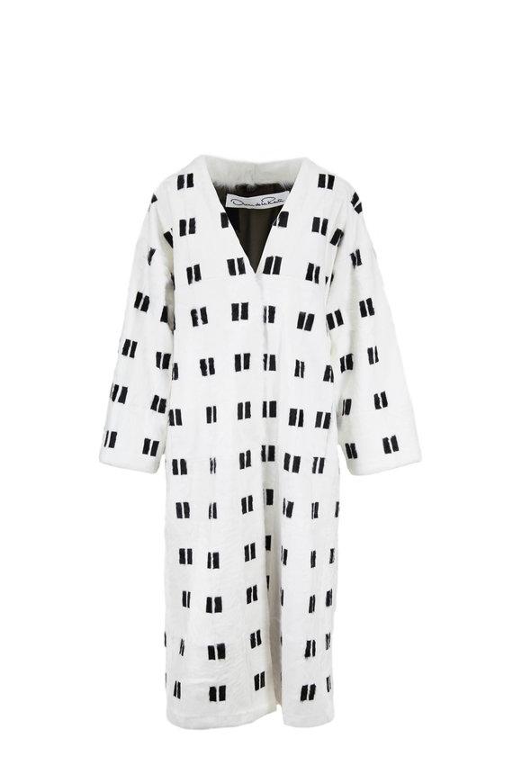 Oscar de la Renta Furs White & Black Lamb Box Intarsia Coat