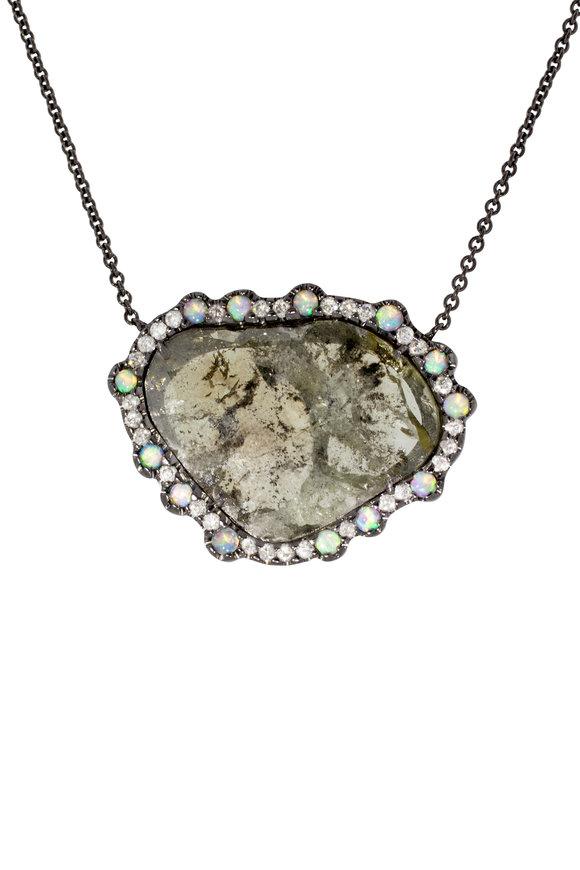 Kimberly McDonald 18K White Gold Diamond & Opal Pendant Necklace