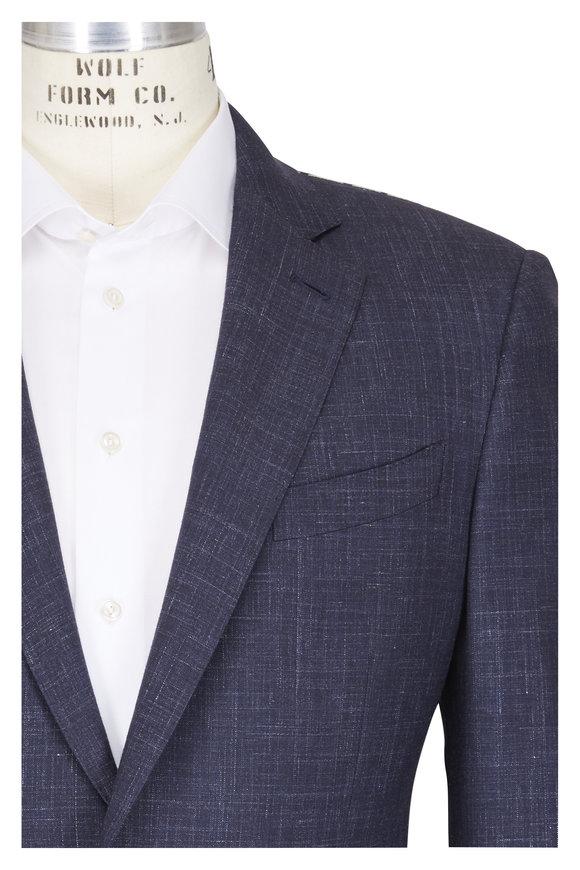 Ermenegildo Zegna Navy Printed Texture Suit