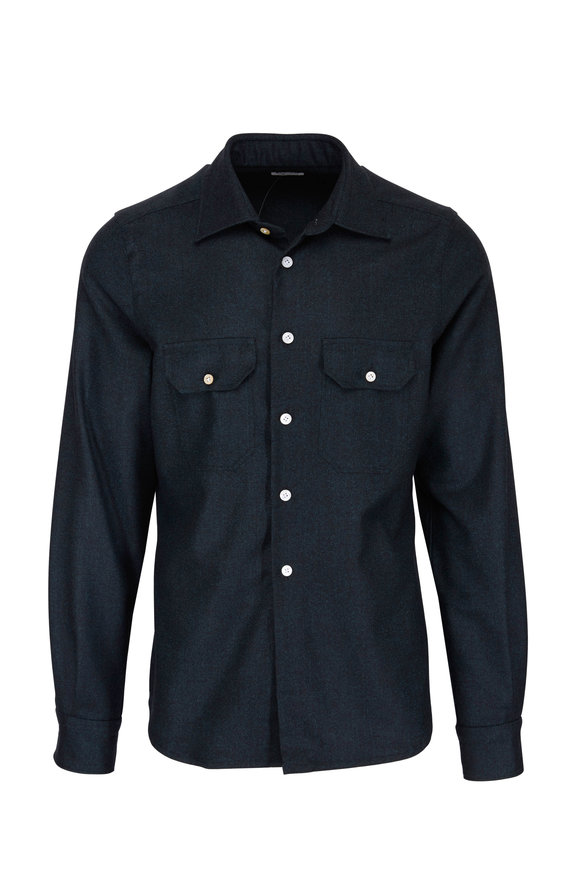Kiton Dark Green Wool Overshirt