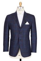 Kiton - Navy & Brown Windowpane Sportcoat