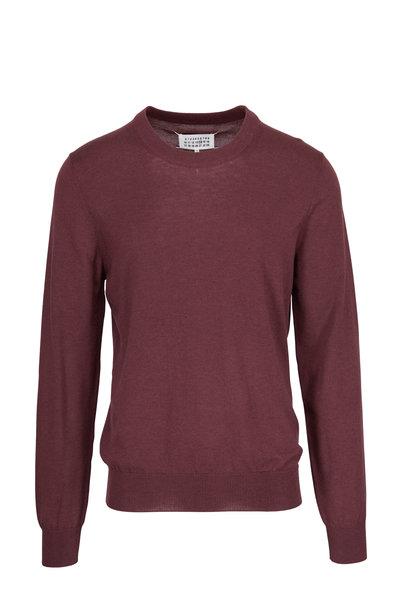 Maison Margiela - Bordeaux Elbow Patch Crewneck Sweater