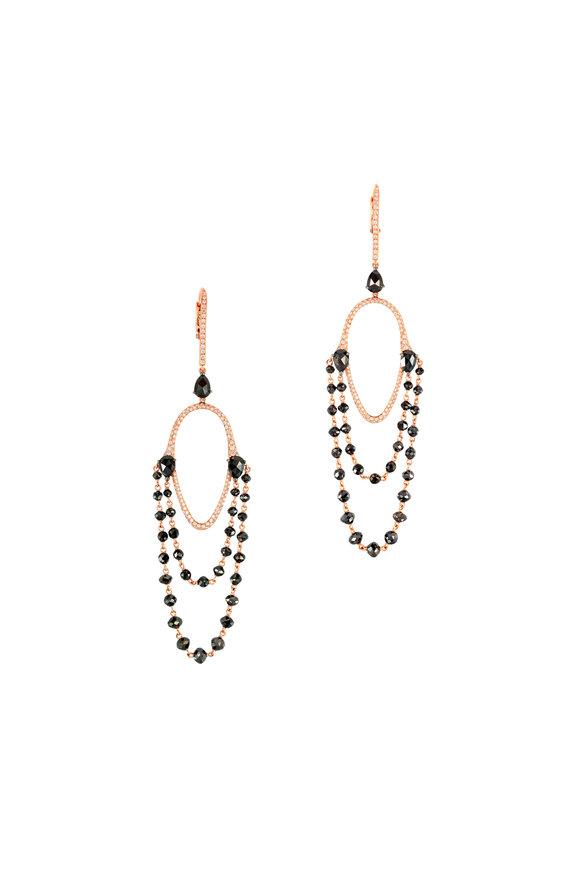Etho Maria 18K Rose Gold Black Diamond Beaded Earrings