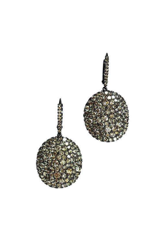Etho Maria 18K Yellow Gold Brown Diamond Circle Drop Earrings