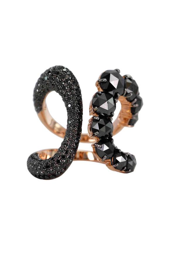 Etho Maria 18K Yellow Gold Black Diamond Cocktail Ring