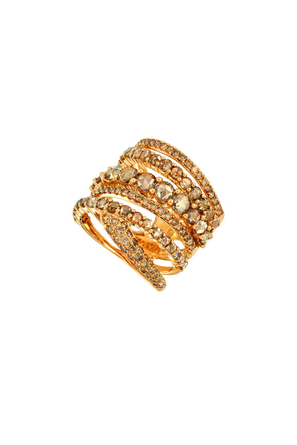 Etho Maria 18K Yellow Gold Brown Diamond Stacked Ring