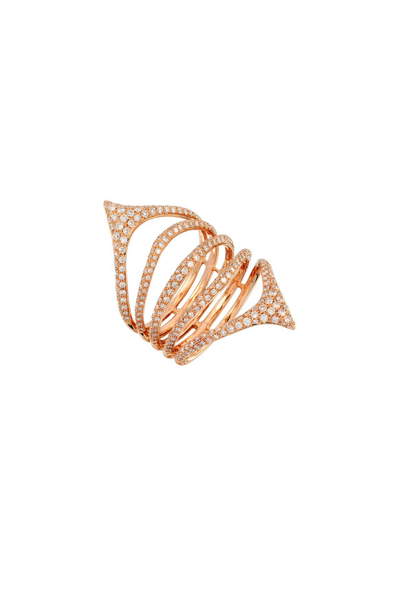 Etho Maria 18K Rose Gold Multi Band Diamond Ring