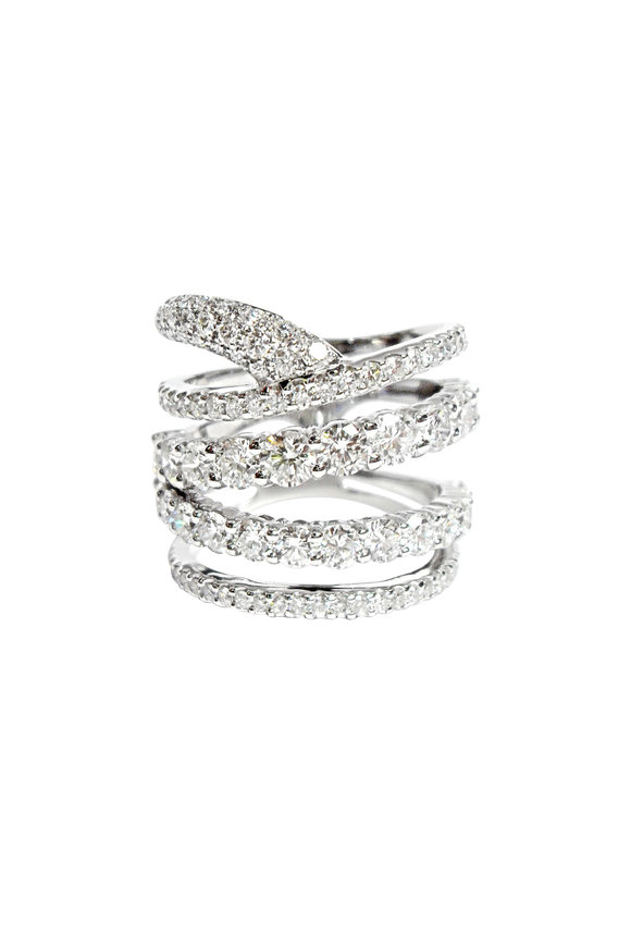Etho Maria 18K White Gold Diamond Stacked Band