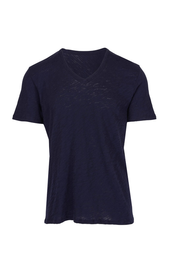 A T M Navy Pima Cotton V-Neck T-Shirt
