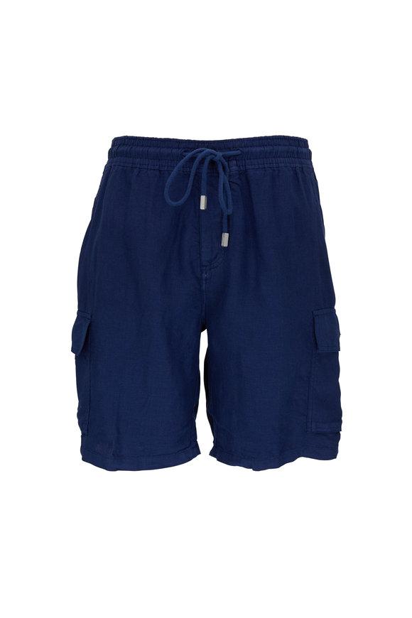 Vilebrequin Baie  Navy Blue Linen Cargo Shorts
