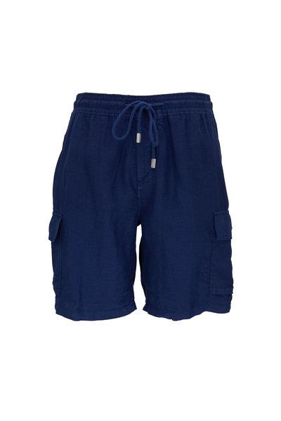 Vilebrequin - Baie  Navy Blue Linen Cargo Shorts