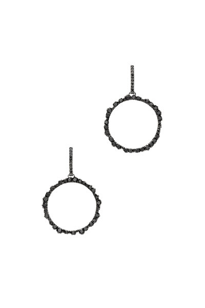 Kimberly McDonald - 18K White Gold Black Diamond Circle Earrings