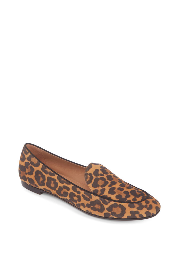 Aquazzura Purist Sabbia Jaguar Printed Suede Loafer