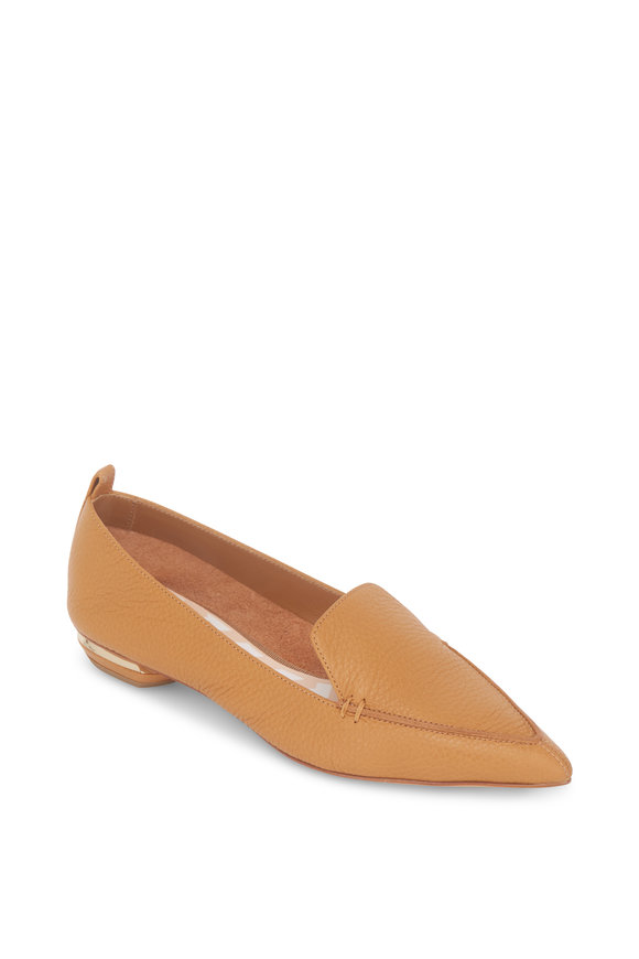 Nicholas Kirkwood Beya Bottalato Tan Leather Pointed Flat