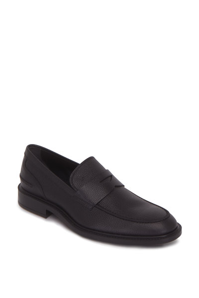 Tod's - Gomma Black Textured Leather Penny Loafer
