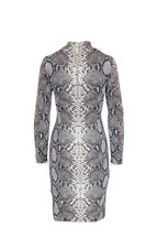 Akris - Natural Stretch Silk Python Long Sleeve Dress
