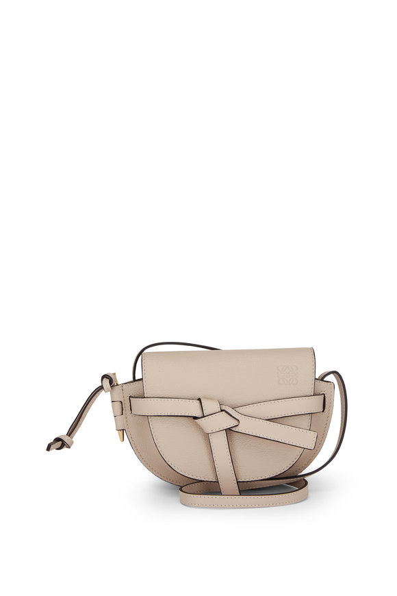 Loewe Mini Gate Oat Grain Leather Crossbody Bag