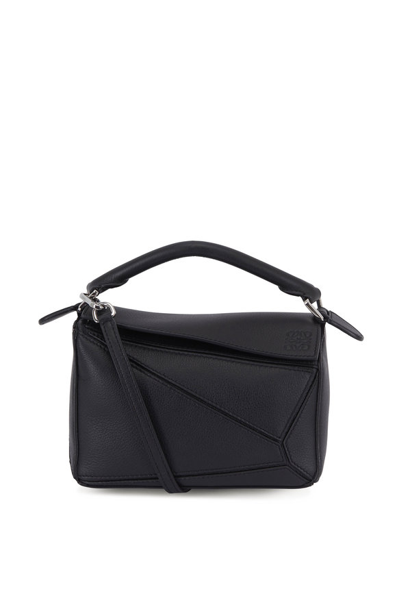 Loewe Mini Puzzle Black Leather Crossbody Bag