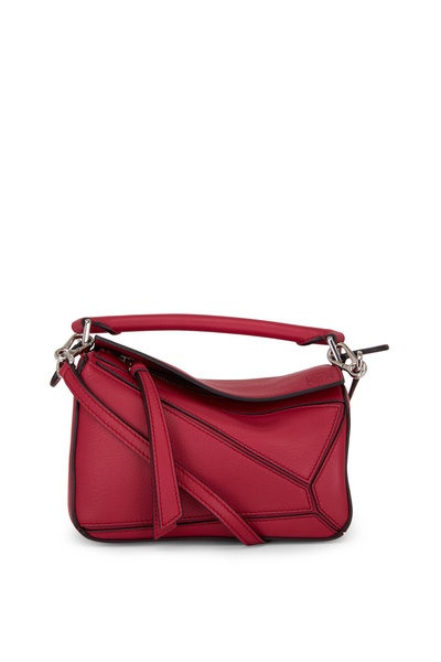 Loewe - Mini Puzzle Raspberry Leather Crossbody Bag