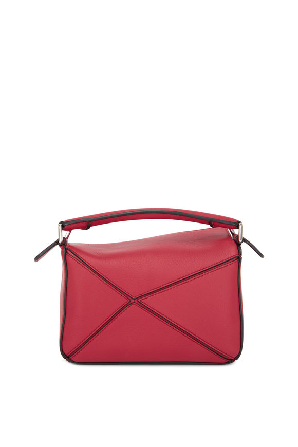 Loewe Mini Puzzle Raspberry Leather Crossbody Bag