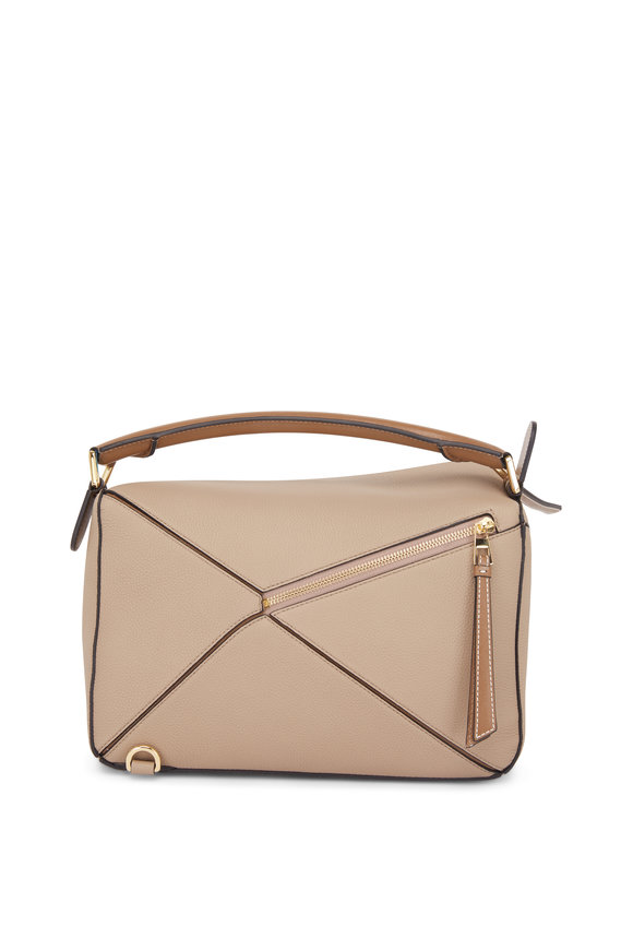 Loewe Small Puzzle Sand Softgrain Leather Shoulder Bag