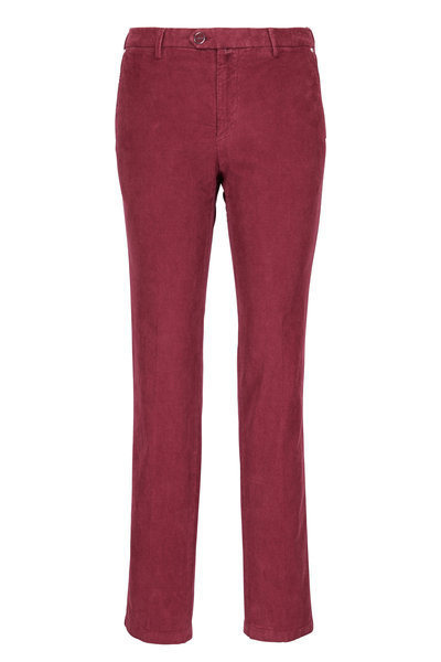 Kiton - Burgundy Corduroy Straight Leg Pant