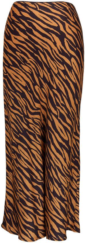Andamane Bella Caramel Zebra Print Midi Skirt
