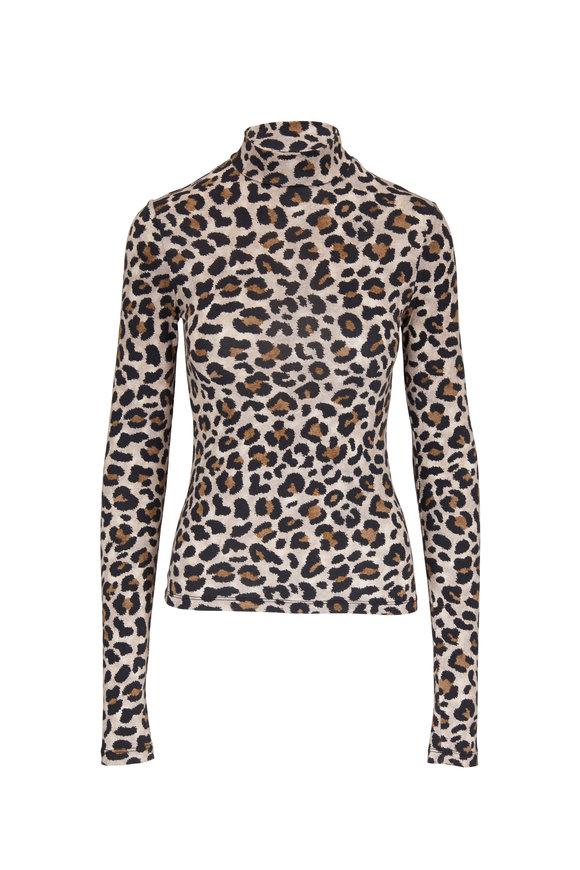 Andamane Beth Leopard Mockneck Top