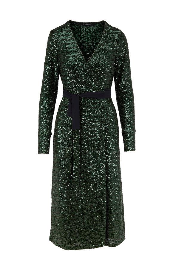 Andamane Green Sequin Long Sleeve Wrap Dress
