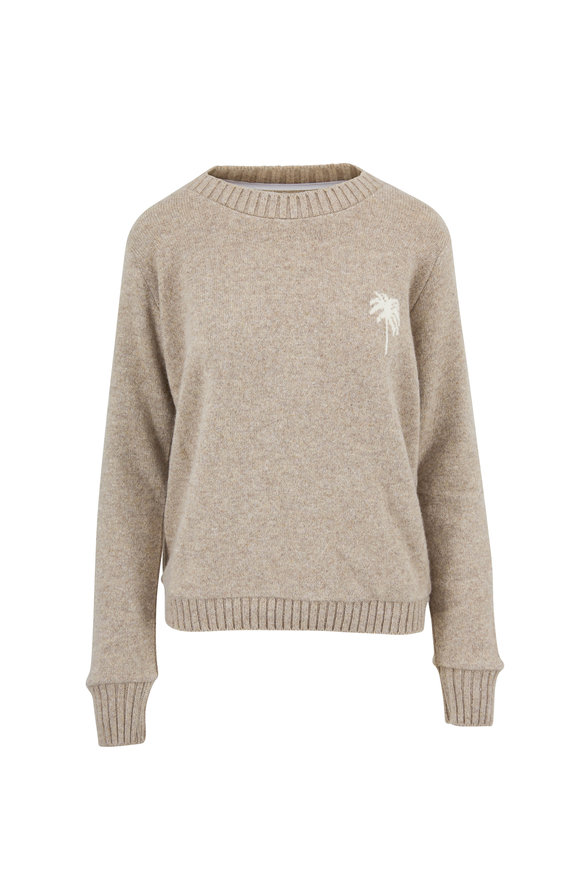 The Elder Statesman Oatmeal & White Palm Tree Cashmere Sweater