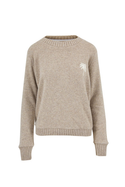 The Elder Statesman - Oatmeal & White Palm Tree Cashmere Sweater