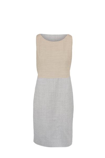 Akris - Silver & Birch Reversible Sleeveless Sheath Dress
