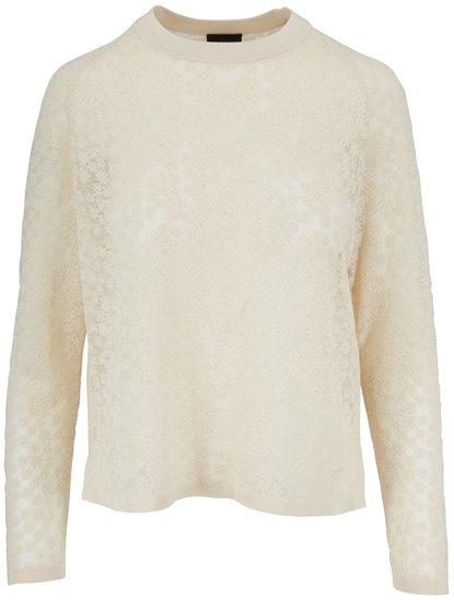 Akris Swan Floral Jacquard Side Slit Top