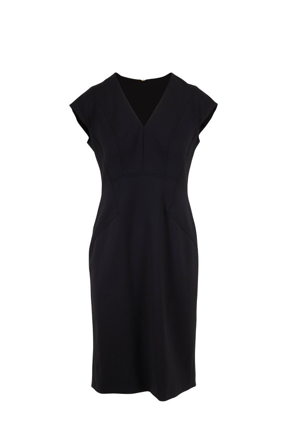 Escada Dhavva Black Stretch Wool Cap-Sleeve Dress