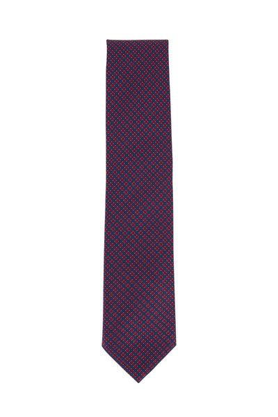 Brioni - Royal Blue & Red Printed Silk Necktie