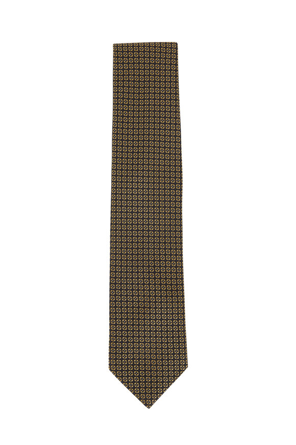 Brioni Gray & Gold Printed Silk Necktie