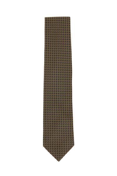 Brioni - Gray & Gold Printed Silk Necktie
