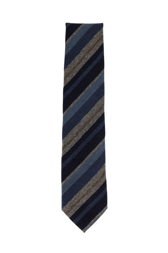 Brioni Navy & Tan Diagonal Striped Wool & Silk Necktie