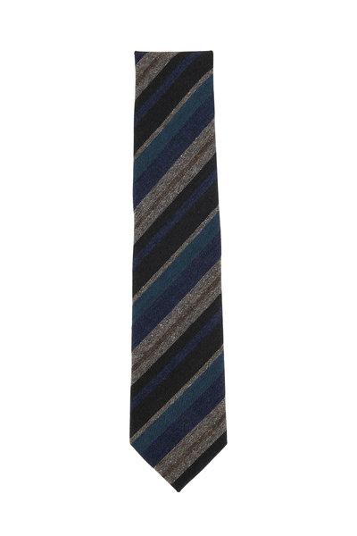 Brioni - Gray & Blue Striped Wool Blend Necktie