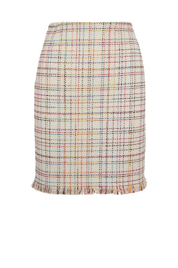Akris Punto Cream Multicolor Tweed Lurex Fringed Mini Skirt