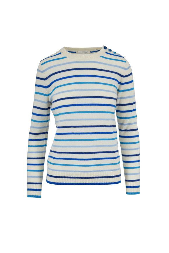 Chinti & Parker Tonal Blue Striped Cashmere Sweater