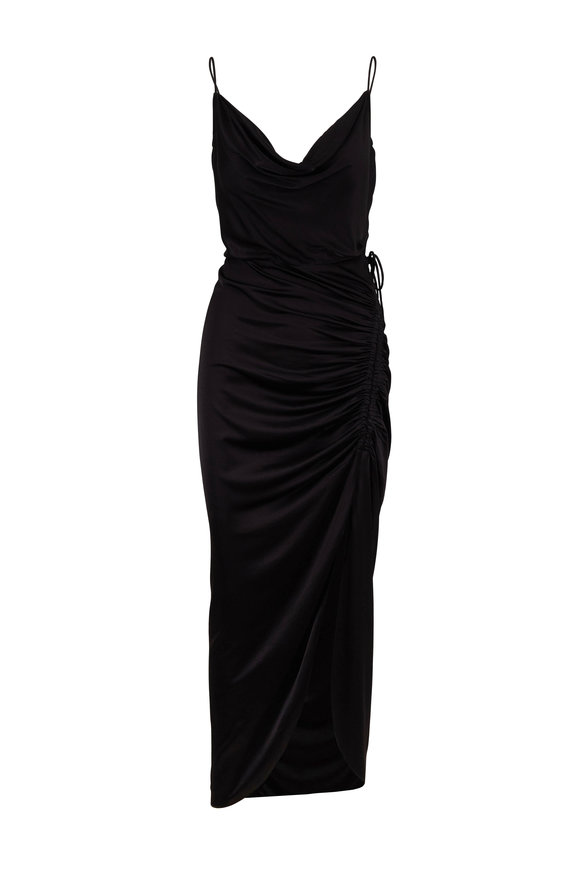 Veronica Beard Natasha Black Satin Ruched Sleeveless Dress