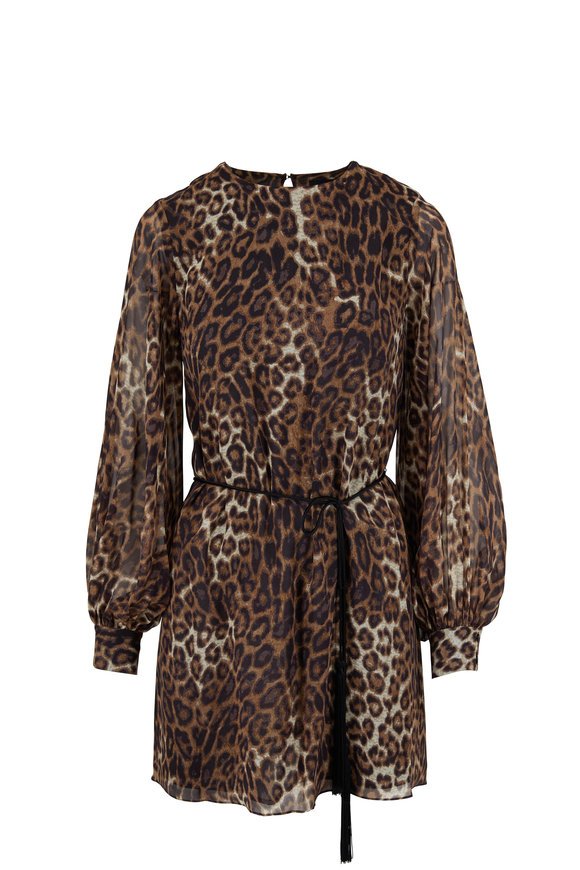 Nili Lotan Rebeca Brown Silk Leopard Print Dress