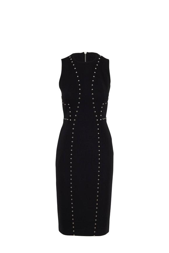 Michael Kors Collection Black Crêpe Studded Sleeveless Sheath Dress