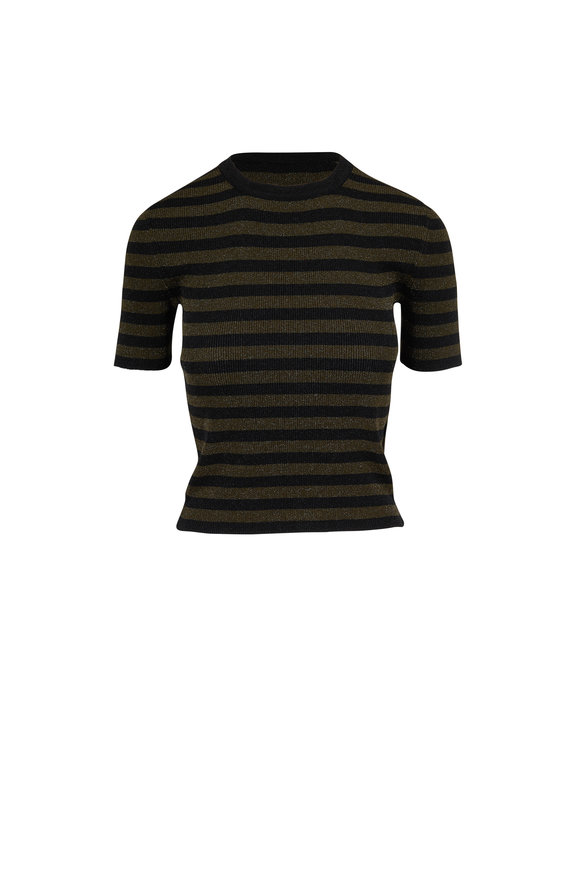 Michael Kors Collection Black & Spruce Metallic Striped Knit T-Shirt
