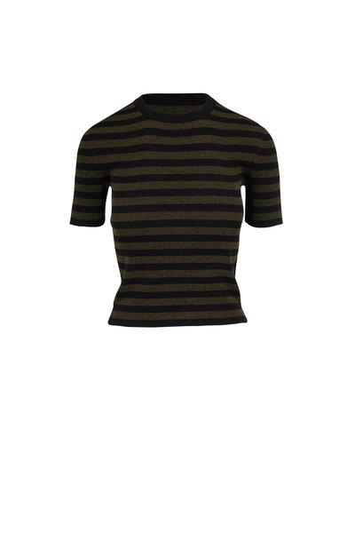 Michael Kors Collection - Black & Spruce Metallic Striped Knit T-Shirt